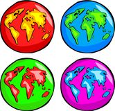Funky Globes. Colourful world globes Stock Photos