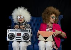 Funky grandma DJ twin retro ghettoblaster stock photo