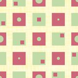 Funky green and red squares with inner circles and rectangles in geometric design. Seamless vector pattern on canvas. Textured yellow background. Great for royalty free illustration