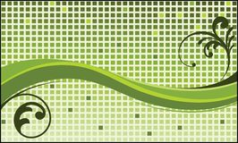 Funky green wave squares and foliage vector illustration