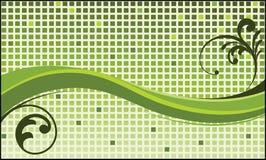 Funky groen golfvierkanten en gebladerte Royalty-vrije Stock Afbeeldingen
