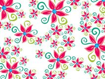 Funky groovy flower daisy. Pattern on white vector illustration