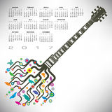 Funky guitar calendar Royalty Free Stock Image