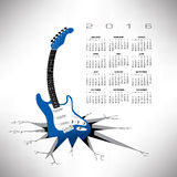 A 2016, funky guitar calendar. A 2016, whimsical, funky guitar calendar royalty free illustration