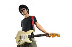 Funky guitarist isolated Stock Images