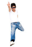 Funky guy jumping in the air Stock Images