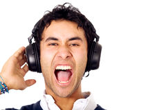 Funky guy listening to music Stock Image