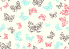 Funky hand-drawn butterflies Royalty Free Stock Images