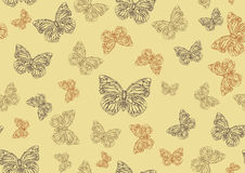Funky hand-drawn butterflies. Vector illustration of many funky hand-drawn butterflies of different size  flying around  . Seamless Pattern Stock Image