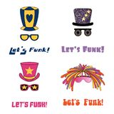 Funky hats and glasses. Set of hand drawn funky hats and glasses, with text Lets funk. Isolated objects on white background. Vector illustration. Design concept Royalty Free Stock Photo