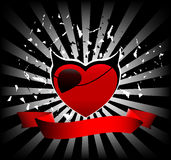 Funky heart banner Royalty Free Stock Image