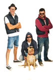 Funky hip hop guys with pitbull dog Royalty Free Stock Photography