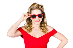 Funky hip pin-up blonde in summer sunglasses Stock Photos