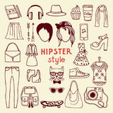 Funky hipster style elements of female. Different stylish accessories. Hipster woman accessory, vector fashion object collection illustration Royalty Free Stock Images