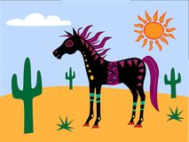 Funky Horse in the Desert Royalty Free Stock Photos
