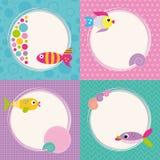 Funky inzameling van de groetkaarten van beeldverhaalvissen Royalty-vrije Stock Afbeeldingen