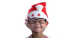 Funky jonge geitje van Kerstmis met glazen Stock Afbeeldingen