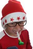 Funky jonge geitje van Kerstmis met glazen stock fotografie