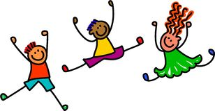 Funky Jumping Kids. Whimsical cartoon illustration of three happy and lively kids playing together Stock Photos