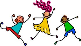 Funky Kids. Whimsical cartoon illustration of three happy and lively kids playing together Stock Images