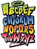 Funky kleurrijk het type van beeldverhaaldoopvont alfabet Stock Foto