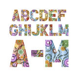 Funky Lette. Original font decorated funky letters from A to M, EPS 8 Royalty Free Stock Photos