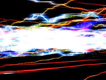 Funky Light Trails Layout. Abstract illustration of colorful glowing trails of light isolated over a black background Stock Images