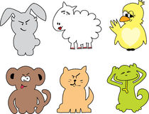 Funky little animals. Six funky and cute animals vector illustration