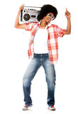 Funky man listening to music Stock Photography