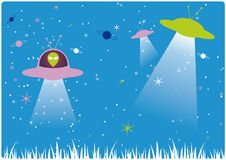 Funky Martians. On space colorful background Royalty Free Illustration