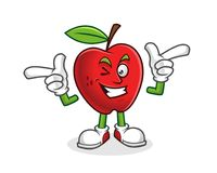 Funky mascotte van de stijlappel Vector van Apple-karakter Apple-embleem Stock Foto's