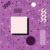 Funky Memphis Pattern op Purple Stock Afbeelding