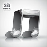 Funky metallic double musical note 3d modern style icon isolated Stock Images