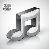 Funky metallic musical note 3d modern style icon isolated. royalty free illustration