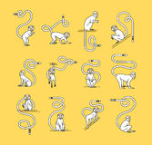 Funky Monkey for prints. Set of 12 monkeys isolated on a yellow background. Pour a thin black line, hipstre.It can be used to print labels, stickers, prints Royalty Free Stock Photo