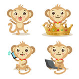 Funky Monkey. Vector Animal Illustration. Cute Monkey Pictures. Royalty Free Stock Images