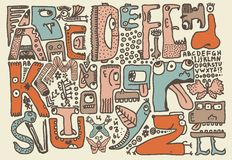 Funky monsters doodle retro alphabet