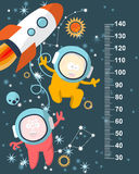 Funky monsters with a missile in space against the background of stars. Stadiometer. Vector Stock Image