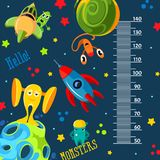 Funky monsters with a rockets and planets in space. Stadiometer. vector illustration