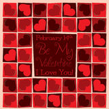 Funky mosaic love heart Valentine's Day card Stock Photos