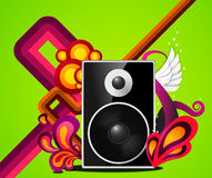 Funky music. Black loud speaker in a colourful decorative setting Royalty Free Stock Photos