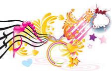 Funky music. Background with pink notes,  illustration Stock Photography