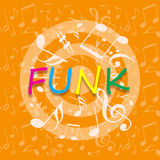 Funky music background. Funky music bright background with dancing musical symbols Stock Photos