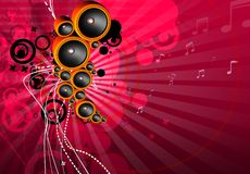 Funky musical background. With speackers royalty free illustration