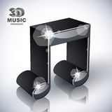 Funky musical note 3d modern style icon isolated. Stock Image