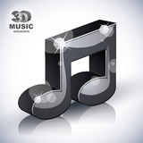 Funky musical note 3d modern style icon isolated. Stock Photos