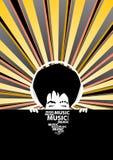 Funky muziekaffiche met de koele mens met hoofdtelefoons Stock Afbeeldingen