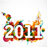 Funky New Year 2011. Creative 2011 greeting card / poster Stock Photos