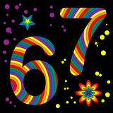 Funky Number Series: 6 & 7. Illustration of rainbow colored retro number series Royalty Free Stock Images