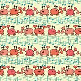 Funky orange cartoon crabs with doodle waves and musical notes. Seamless vector pattern on light yellow background royalty free illustration